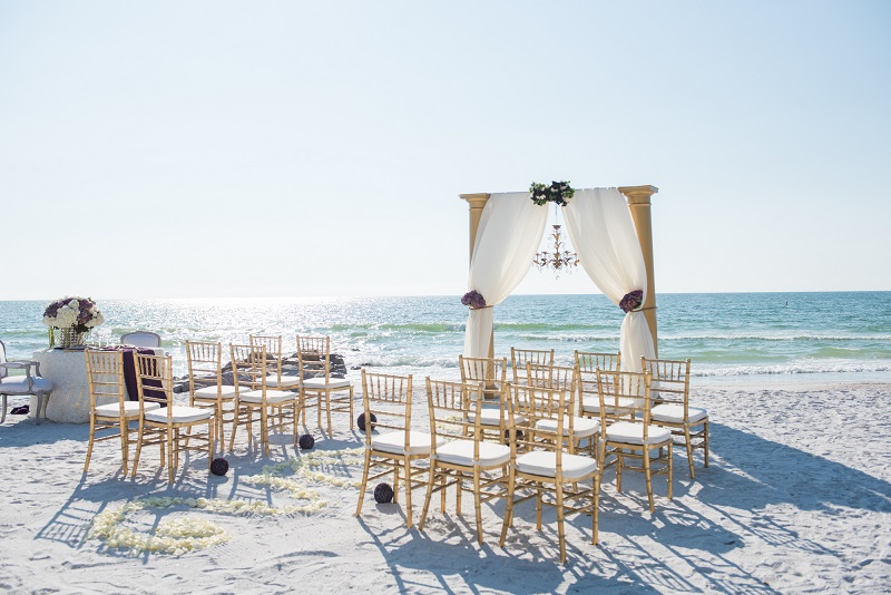 Gold Chiavari Beach Ceremony