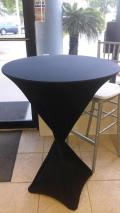 Rental store for LINEN-Black Spandex for cocktail table in St. Petersburg FL